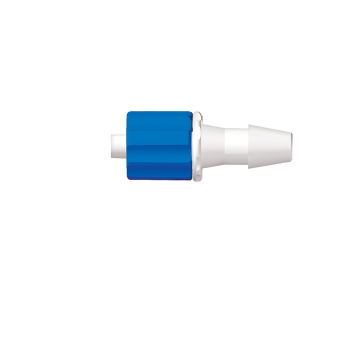 "Rotating Male Luer with Snap Ring to 3/16"" Barb (4.75mm) ID Tubing"