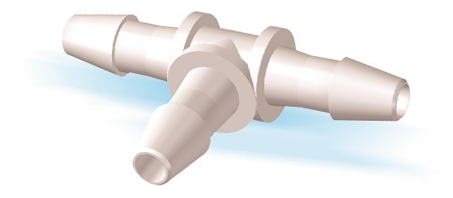 "Tee Connector with 5/32"" Barbs (4mm) ID Tubing"
